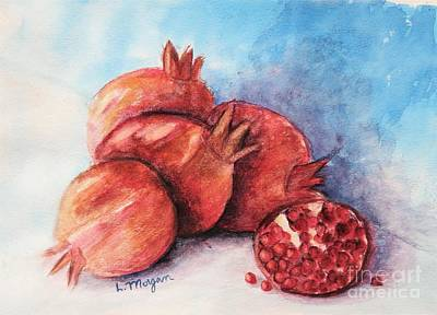 Painting - Pomegranates by Laurie Morgan