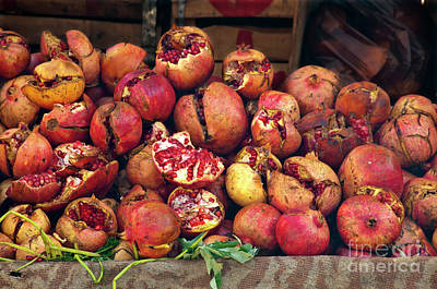 Marketplace Photograph - Pomegranates by Marion Galt