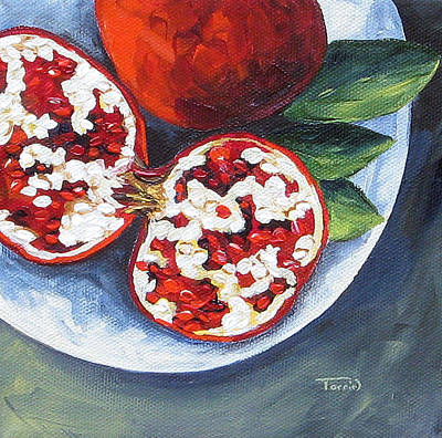 Pomegranates On A Plate  Art Print by Torrie Smiley