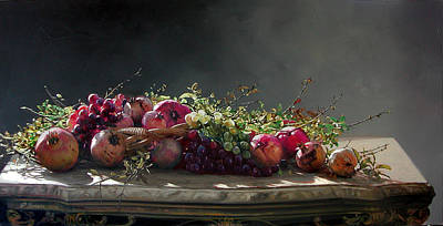 Painting - Pomegranates On Basket by Demetrios Vlachos