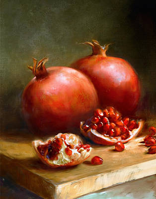 Red Wall Art - Painting - Pomegranates by Robert Papp