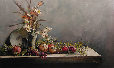 Painting - Pomegranates With A Black  Vase by Demetrios Vlachos