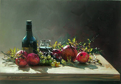 Painting - Pomegranates With A Bottle Of Wine by Demetrios Vlachos
