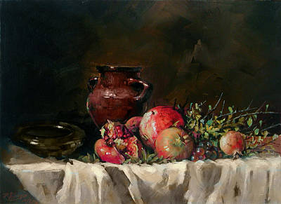 Painting - Pomegranates With A Vase by Demetrios Vlachos