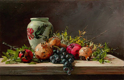 Painting - Pomegranates With A White Vase by Demetrios Vlachos