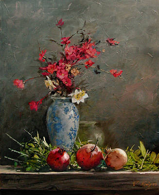 Painting - Pomegranates With Red Flowers by Demetrios Vlachos