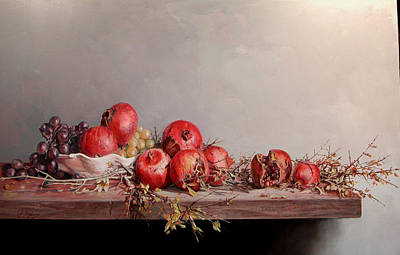 Painting - Pomegranates With White Pot by Demetrios Vlachos