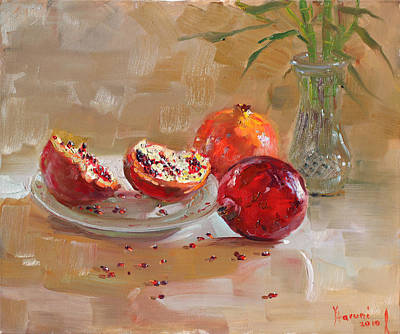 Pomegranate Painting - Pomegranates by Ylli Haruni