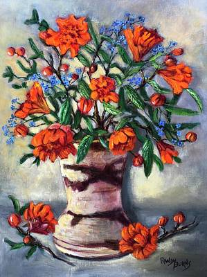 Painting - Pomegranites And Forget Me Nots by Randol Burns
