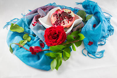 Still Life Photograph - Pomengranate And Red Rose by Iordanis Pallikaras
