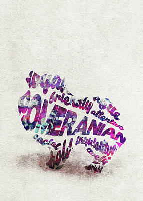 Painting - Pomeranian Dog Watercolor Painting / Typographic Art by Inspirowl Design