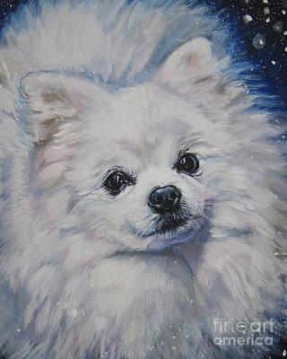 Pomeranian Painting - Pomeranian In Snow by Lee Ann Shepard