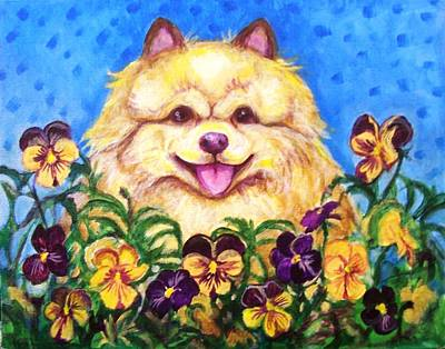 Painting - Pomeranian With Pansies by Laura Aceto