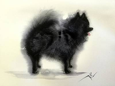 Painting - Pometanian Dog3 by Katerina Kovatcheva