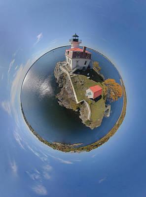 Pomham Rocks Lighthouse Little Planet Art Print by Christopher Blake
