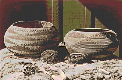 Pomo Baskets And Magnesite Beads Art Print