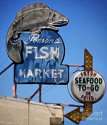 Photograph - Pomona Fish Market Vintage Sign by Gregory Dyer