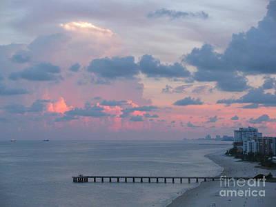 Pompano Pier At Sunset Art Print
