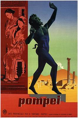 Royalty-Free and Rights-Managed Images - Pompei - City Of Naples, Italy - Statue of a Dancing Faun - Retro travel Poster - Vintage Poster by Studio Grafiikka