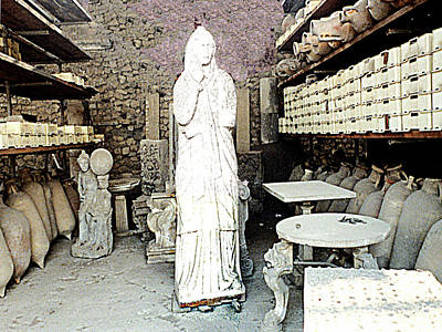 Photograph - Pompei, Italy - Recovered Artifacts Storage Room by Merton Allen
