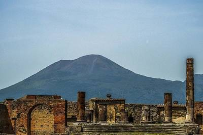 Photograph - Pompeii's Temple Of Jupiter And Mount Vesuvius by Marilyn Burton