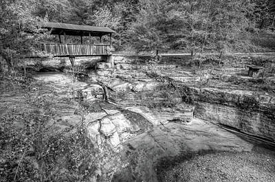 Photograph - Ponca Arkansas Covered Bridge - Black And White by Gregory Ballos