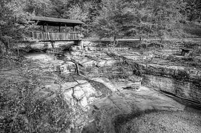 Ponca Arkansas Covered Bridge - Black And White Art Print