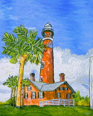 Key West Painting - Ponce Lighthouse by W Gilroy