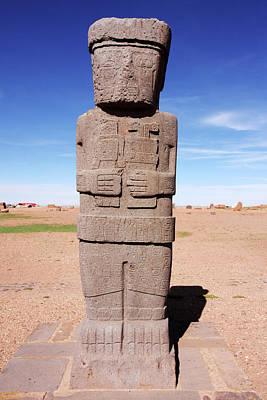 Photograph - Ponce Monolith, Tiwanaku, Bolivia by Aidan Moran