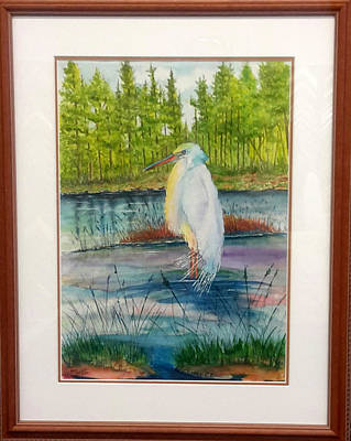 Painting - Pond And Egret Framed by Richard Benson