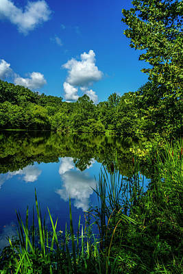 Photograph - Pond And Sky Reflection Hermann Mo_7r2_dsc0144_16-08-18 by Greg Kluempers