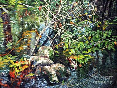 Swamp Painting - Pond At Brooker Creek Preserve After June Rain by George Voyajolu