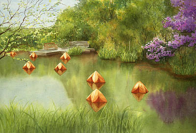 Pond At Olbrich Botanical Garden Art Print