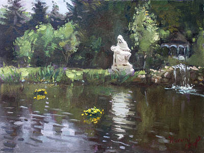Pond At Our Lady Of Fatima Lewiston Art Print by Ylli Haruni