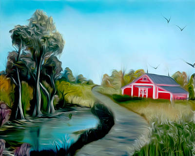 Wet On Wet Digital Art - Pond By The Red Barn Dreamy Mirage by Claude Beaulac