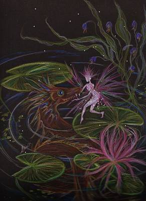 Lilly Pond Drawing - Pond Dragon by Dawn Fairies
