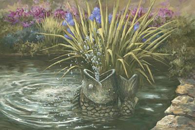 Pond Fountain Art Print