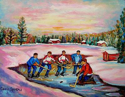 Our National Sport Painting - Pond Hockey Warm Day by Carole Spandau