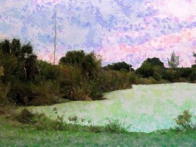 Mixed Media - Pond Impression by Florene Welebny