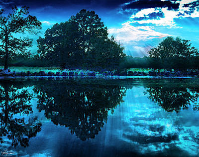 Thomas Kinkade Royalty Free Images - Pond In Blue Royalty-Free Image by Philip Rispin
