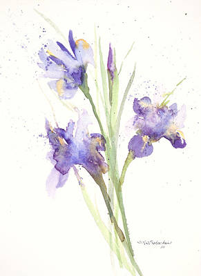 Print featuring the painting Pond Iris by Sandra Strohschein