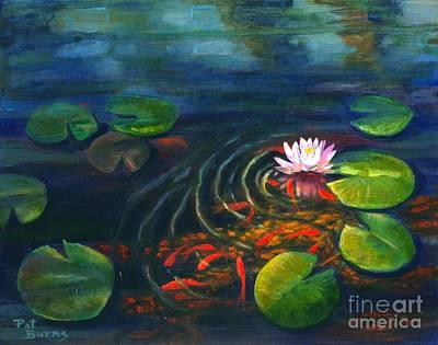 Art Print featuring the painting Pond Jewels by Pat Burns