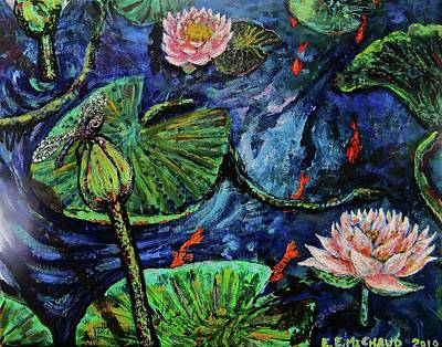 Lilly Pond Painting - Pond Life by Emily Michaud