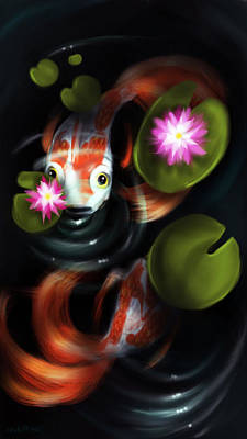 Koi Digital Art - Pond Life  by Susan  Rossell