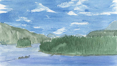 Painting - Pond Oreille, Hope Idaho by Victor Vosen