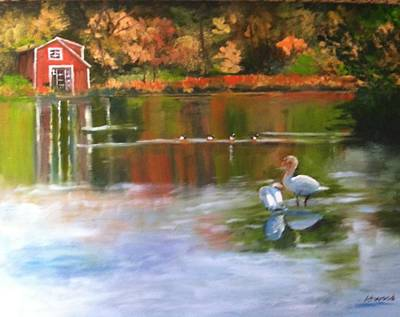 Painting - Pond Reflections by Lynne Atwood