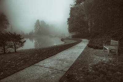 Quiet Photograph - Pond Walk In Black And White by Tom Mc Nemar