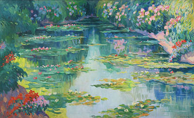 Pond With Water Lilies Art Print