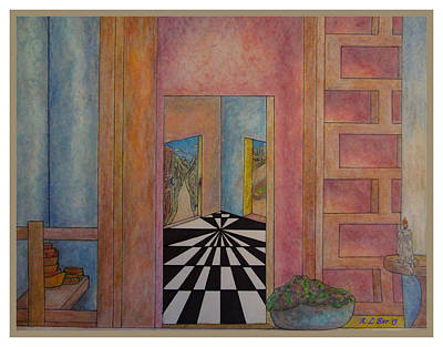 Entrance Door Drawing - Pondering Dimensional Doors by Ana Bar