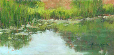 Cattail Painting - Pond's Edge by Tracie Thompson
